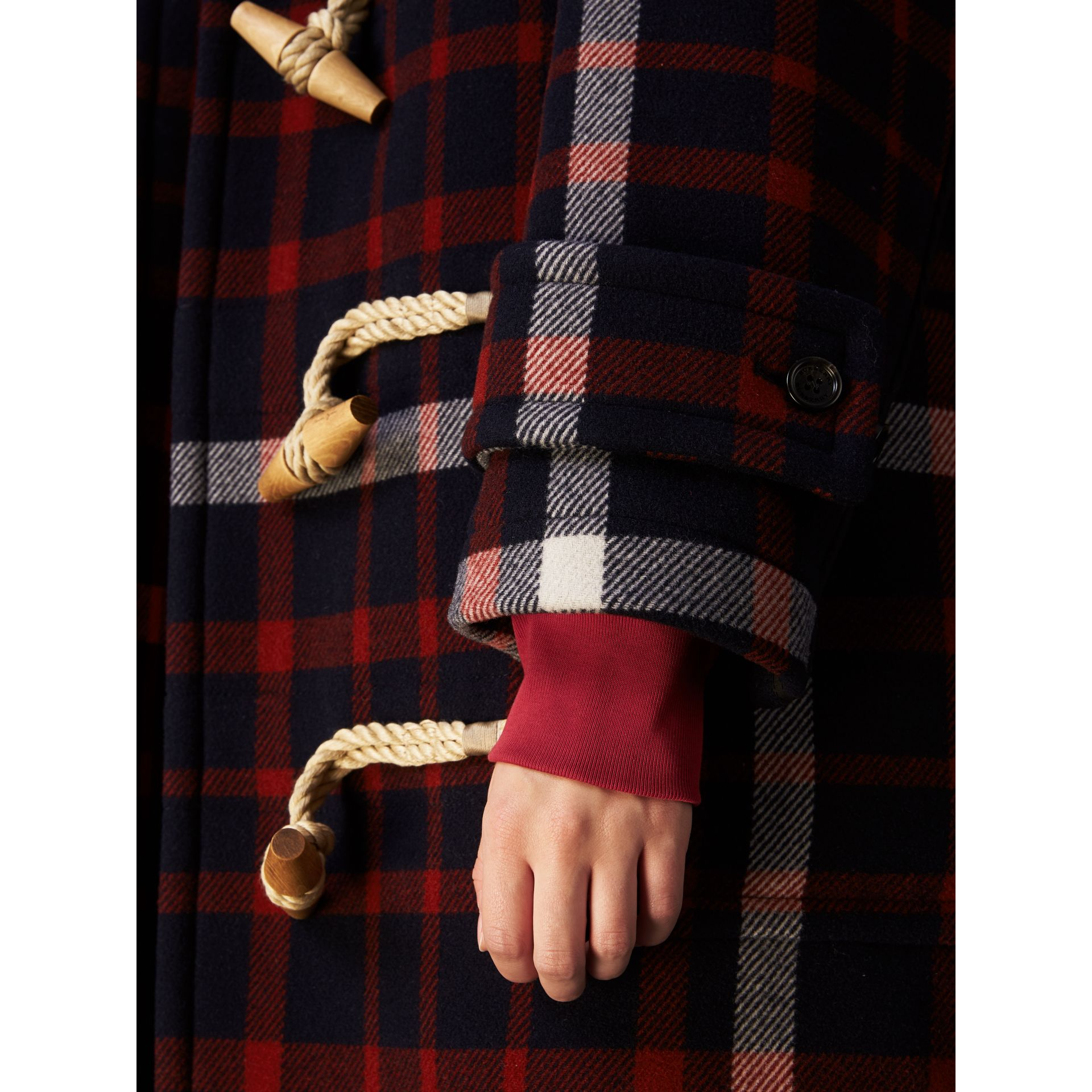 Check Wool Duffle Coat with Detachable Warmer in Navy/black - Women | Burberry - gallery image 6