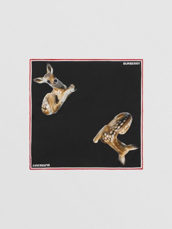 Fazzoletto da taschino in seta con stampa cerbiatto (Nero)