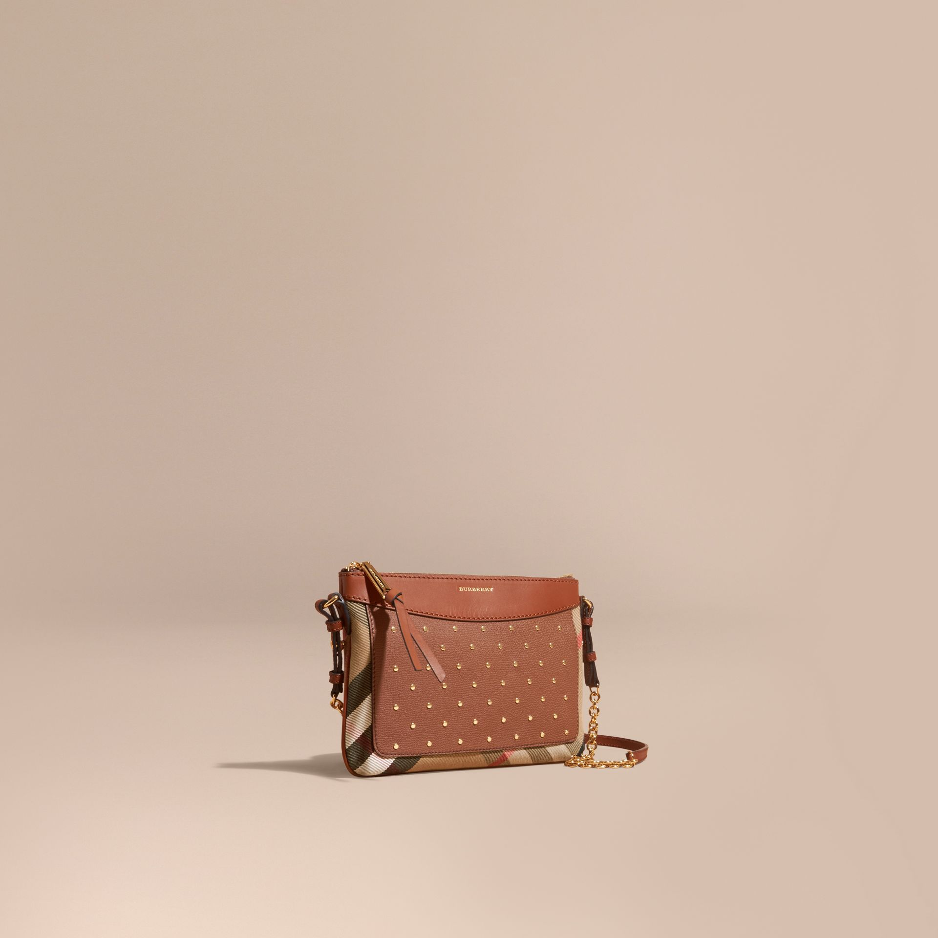 Riveted Leather and House Check Clutch Bag in Tan - gallery image 1
