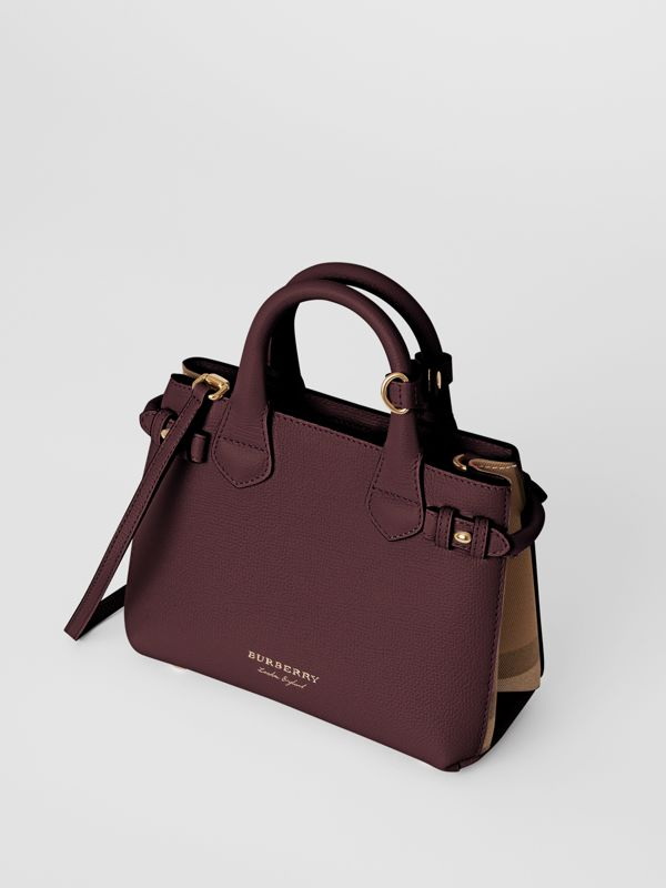 The Small Banner in Leather and House Check in Mahogany Red - Women | Burberry - cell image 3