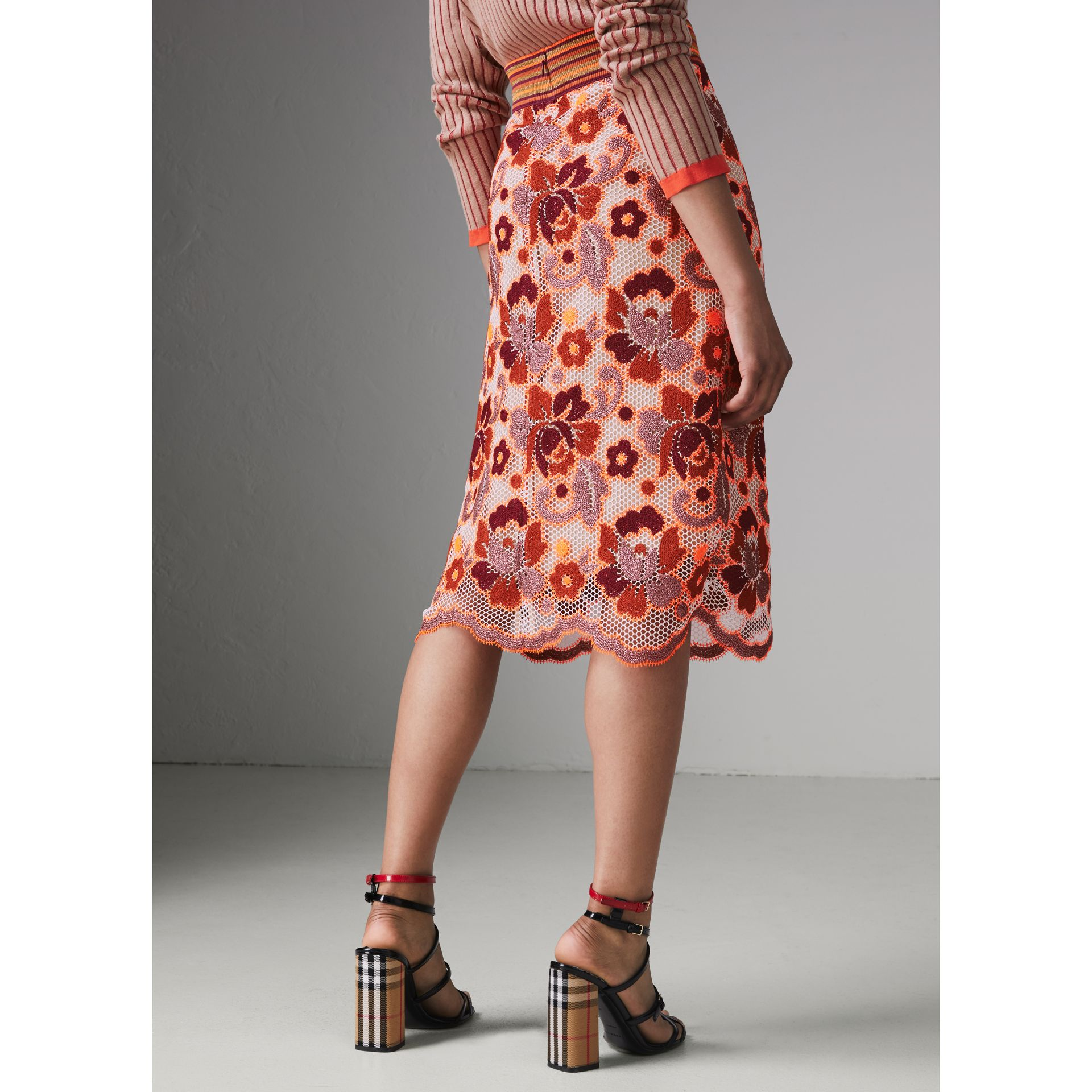 Floral Crochet Fitted Skirt in Bright Orange - Women | Burberry - gallery image 2
