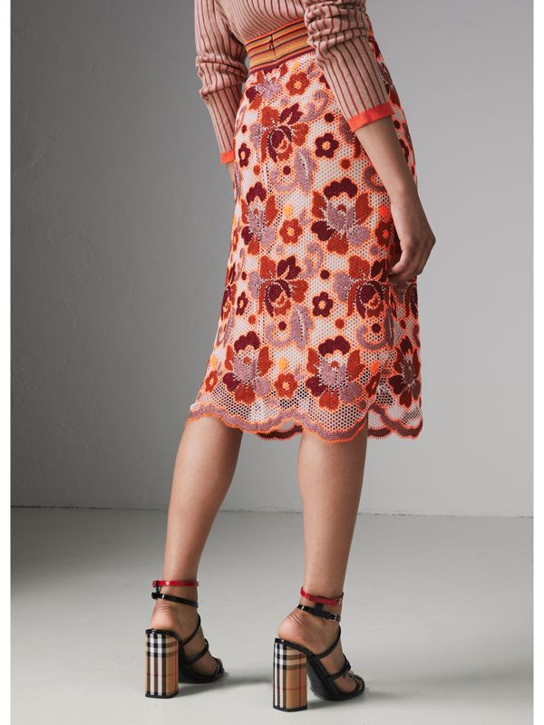Floral Crochet Fitted Skirt in Bright Orange - Women | Burberry - cell image 2
