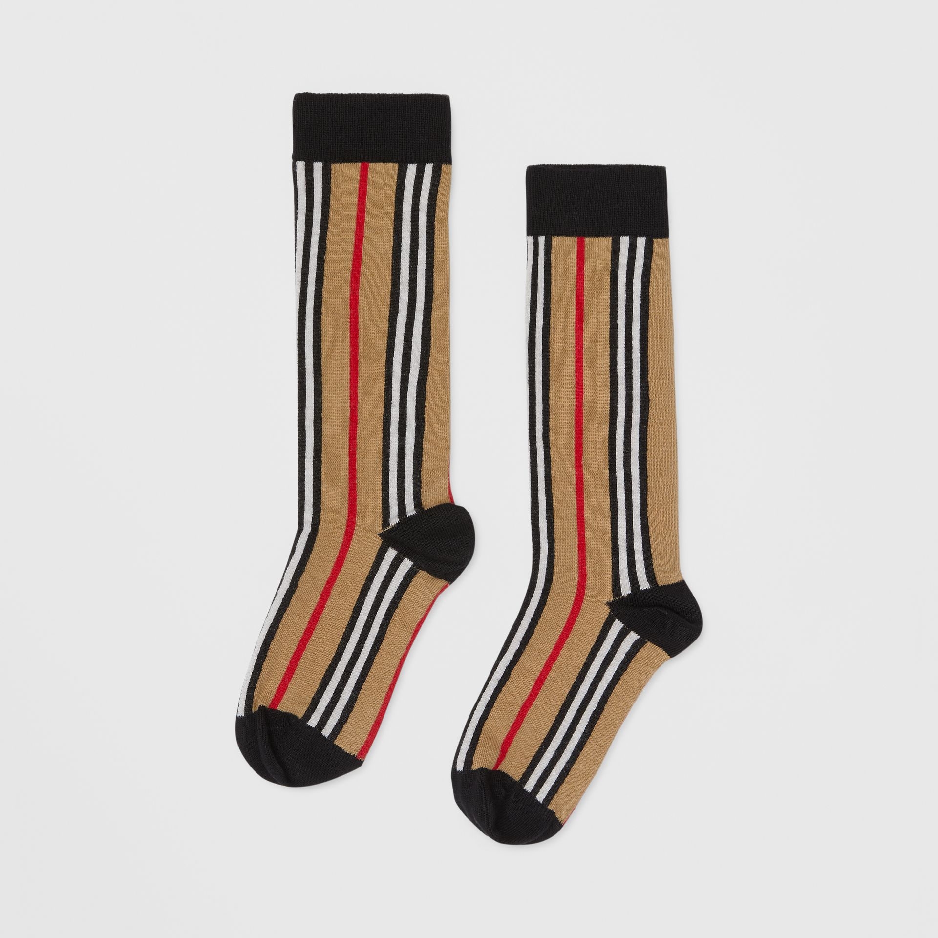Icon Stripe Intarsia Cotton Blend Socks in Archive Beige - Children | Burberry - gallery image 2