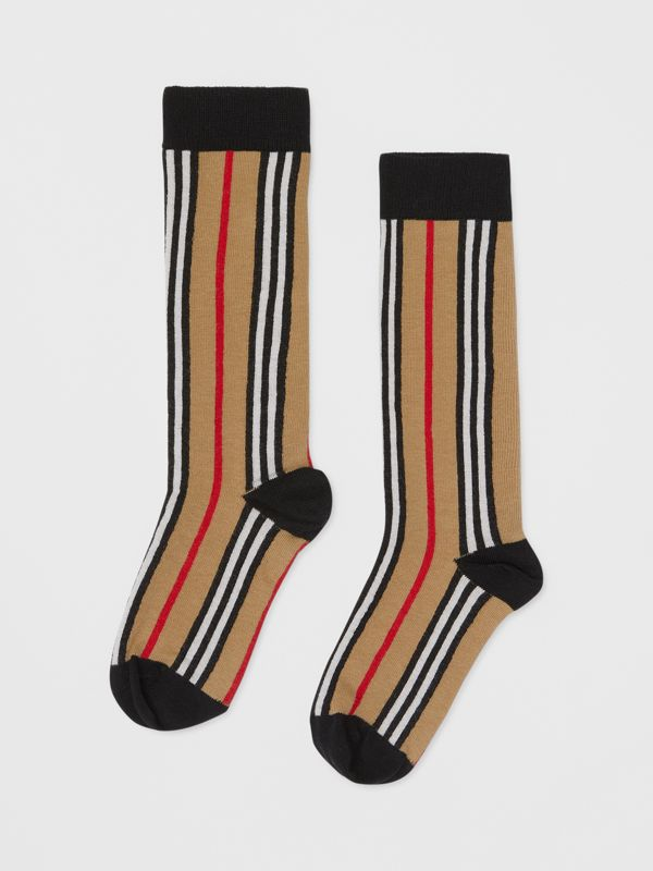 Icon Stripe Intarsia Cotton Blend Socks in Archive Beige - Children | Burberry - cell image 2