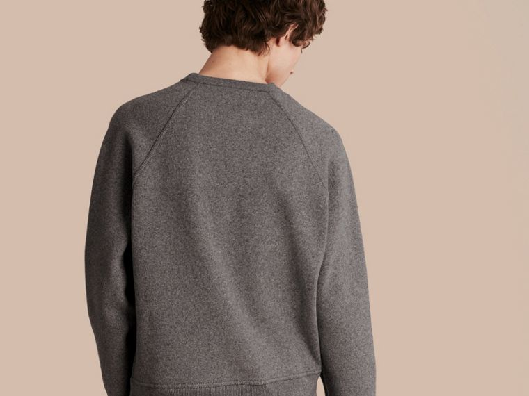Mid grey melange/black Wool Blend Sculpted Sweatshirt Mid Grey Melange/black - cell image 1
