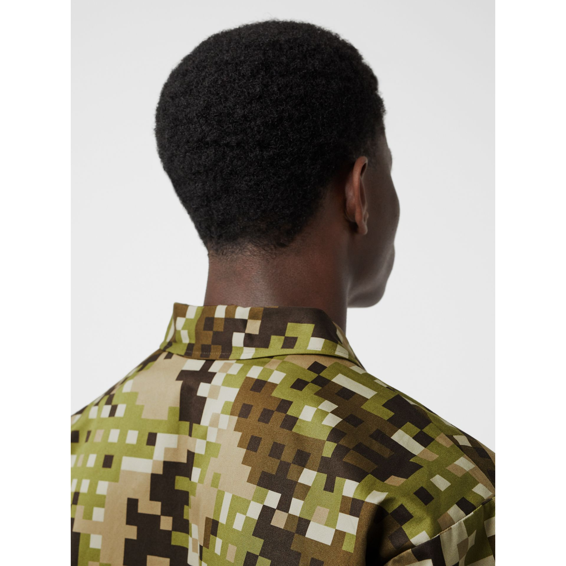 Short-sleeve Montage Print Cotton Shirt in Khaki | Burberry Australia - gallery image 4