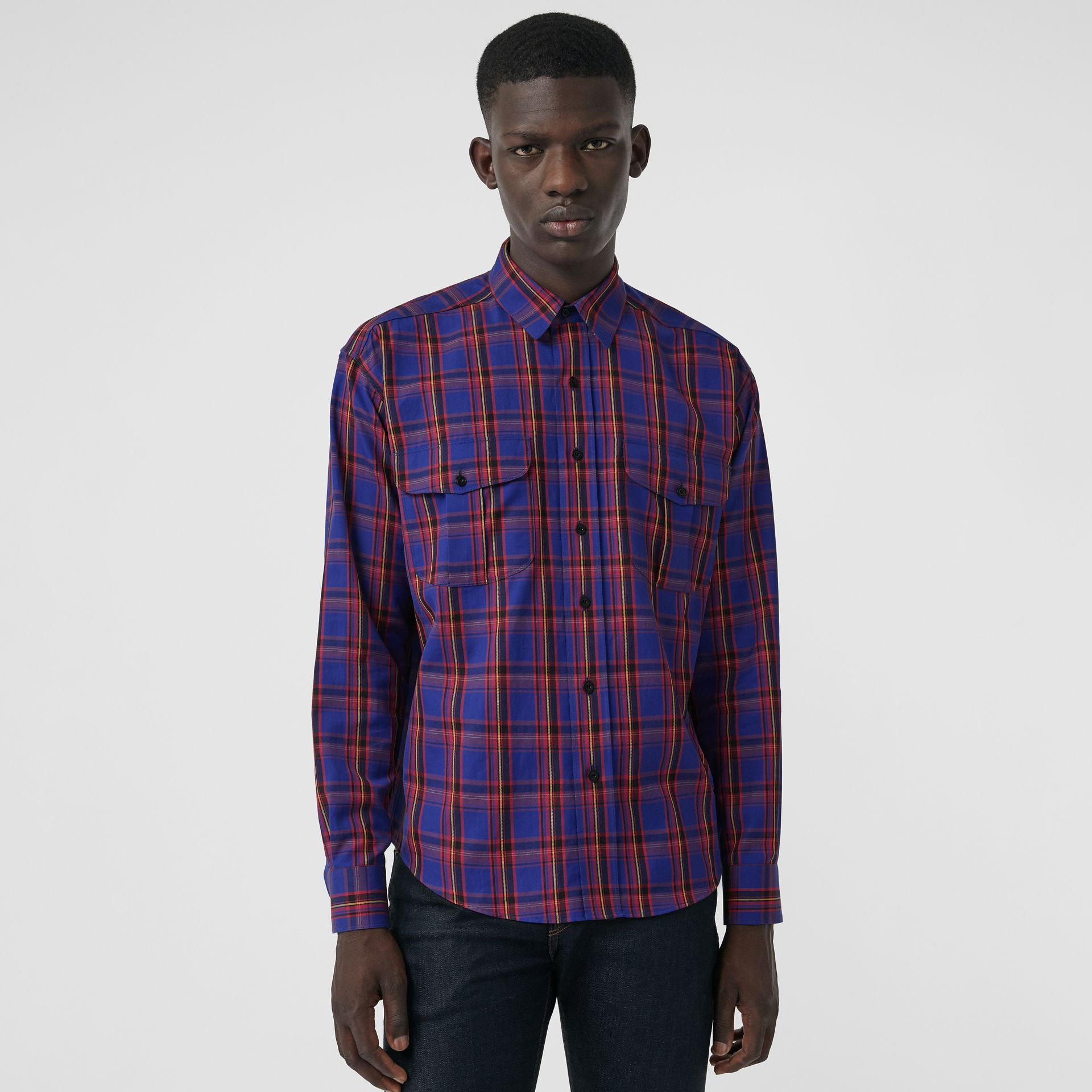 Check Cotton Twill Shirt in Bright Blue - Men   Burberry United States - gallery image 0