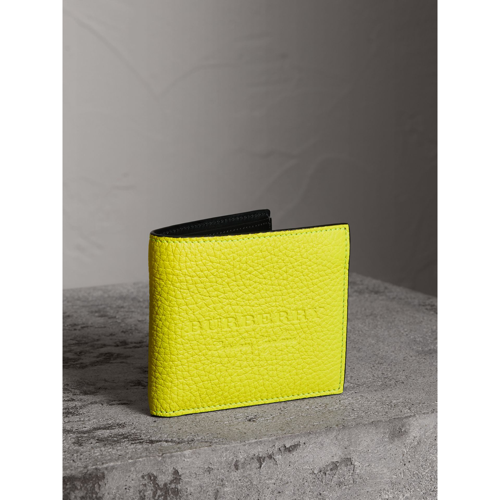 Embossed Leather International Bifold Wallet in Neon Yellow - Men | Burberry Hong Kong - gallery image 0