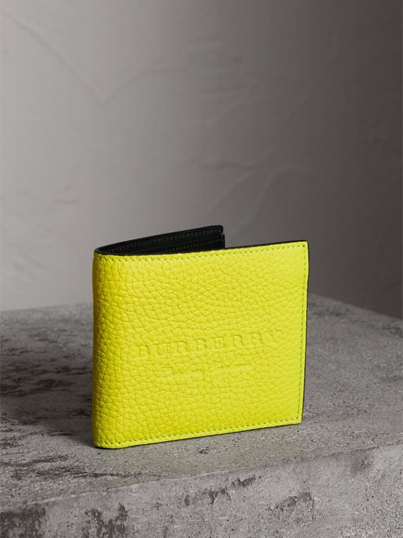 Embossed Leather International Bifold Wallet in Neon Yellow