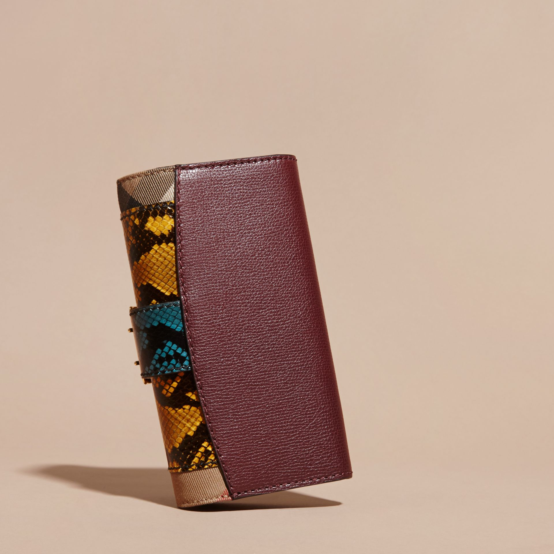 Elderberry Snakeskin and House Check Continental Wallet Elderberry - gallery image 4