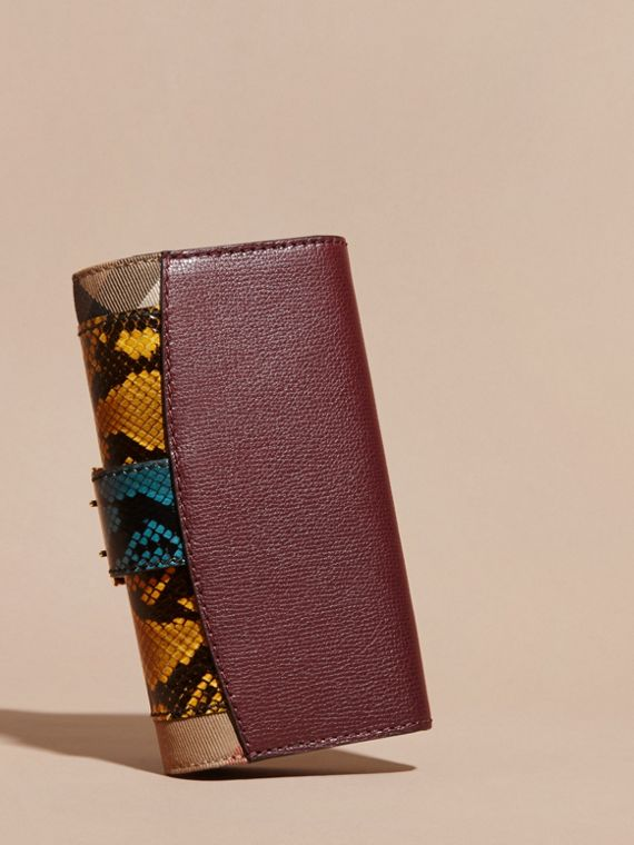 Snakeskin and House Check Continental Wallet Elderberry - cell image 3