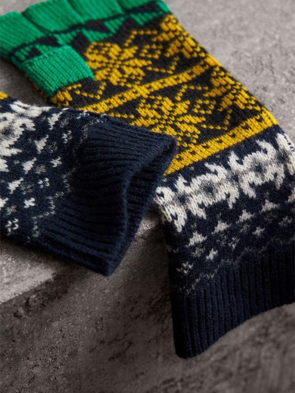 Fair Isle Wool Cashmere Cotton Fingerless Gloves in Bright Yellow | Burberry - cell image 2
