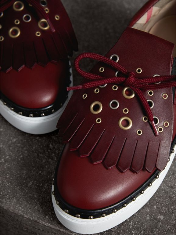 Kiltie Fringe Leather Sneakers in Cerise Purple - Women | Burberry - cell image 1