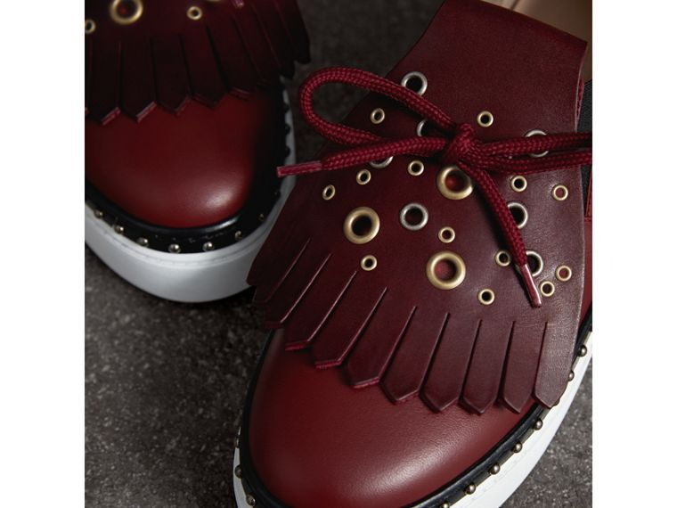 Kiltie Fringe Leather Trainers in Cerise Purple - Women | Burberry United States - cell image 1