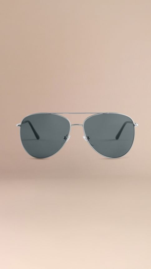 Silver Check Arm Aviator Sunglasses Silver - Image 3