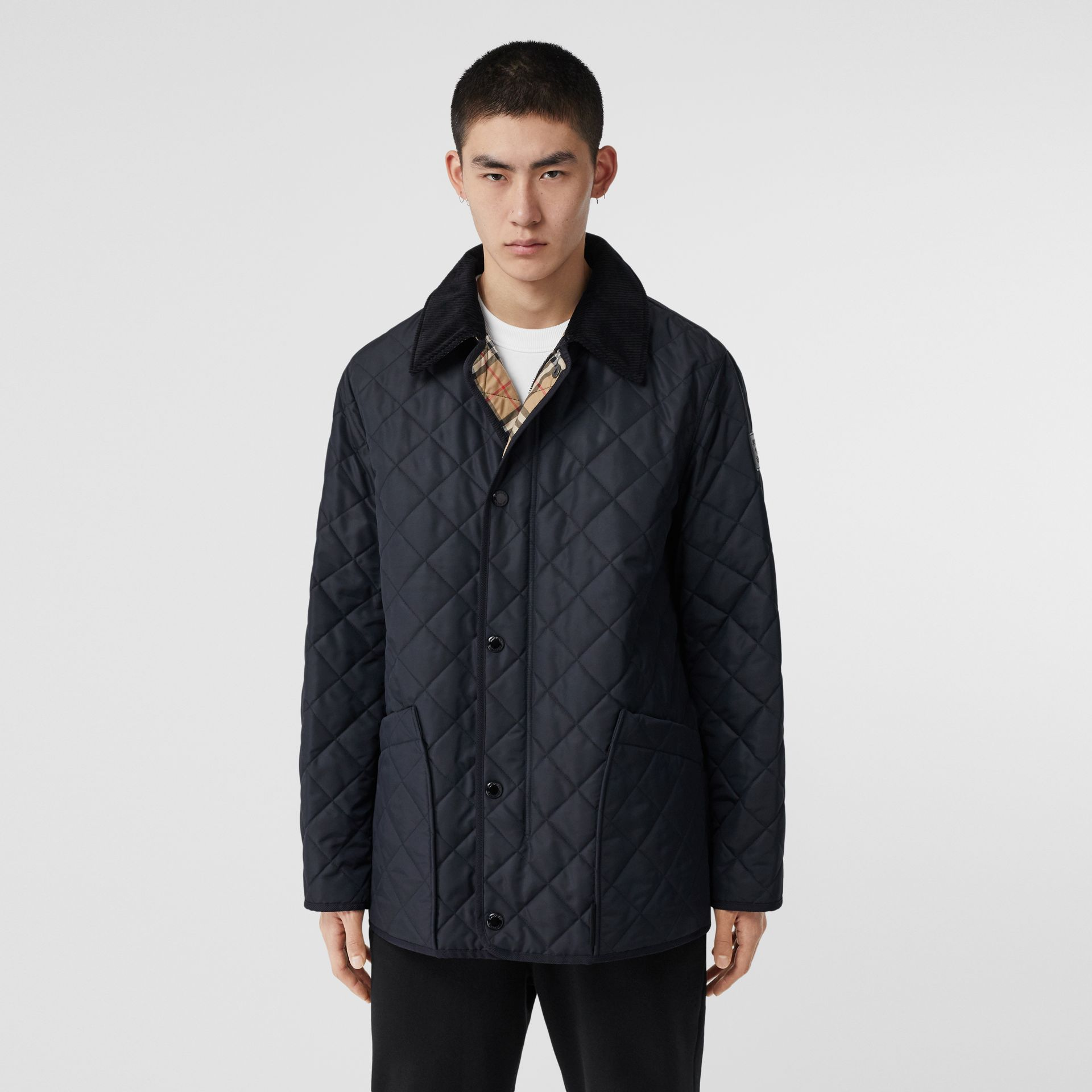 Diamond Quilted Thermoregulated Barn Jacket in Navy - Men | Burberry - gallery image 6
