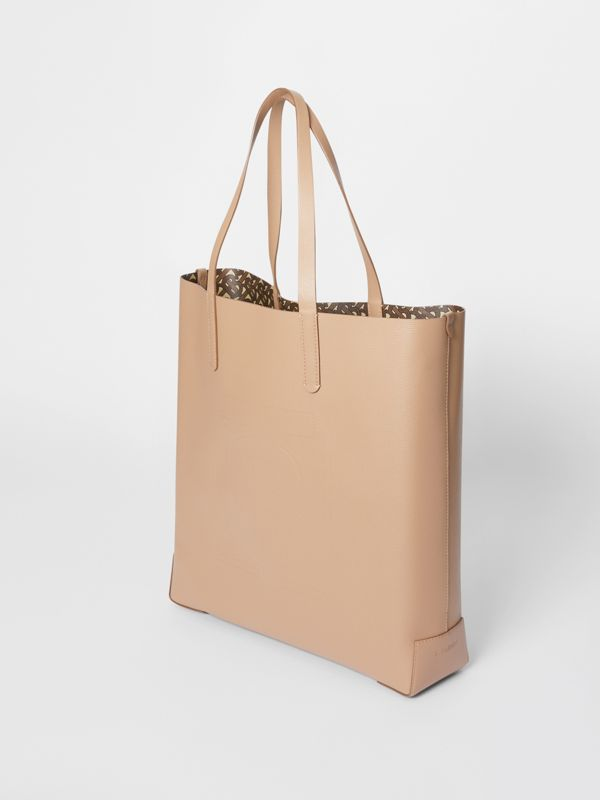 Large Embossed Monogram Motif Leather Tote in Camel | Burberry United Kingdom - cell image 2