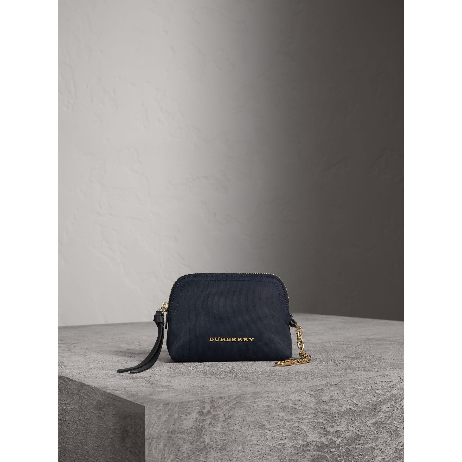 Small Zip-top Technical Nylon Pouch in Ink Blue - Women | Burberry Canada - gallery image 2