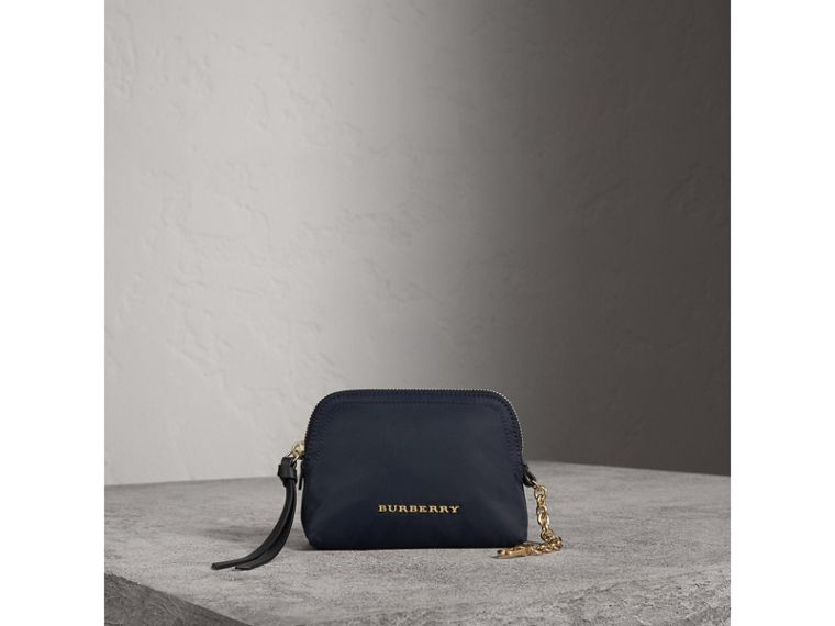 Small Zip-top Technical Nylon Pouch in Ink Blue - Women | Burberry Canada - cell image 1