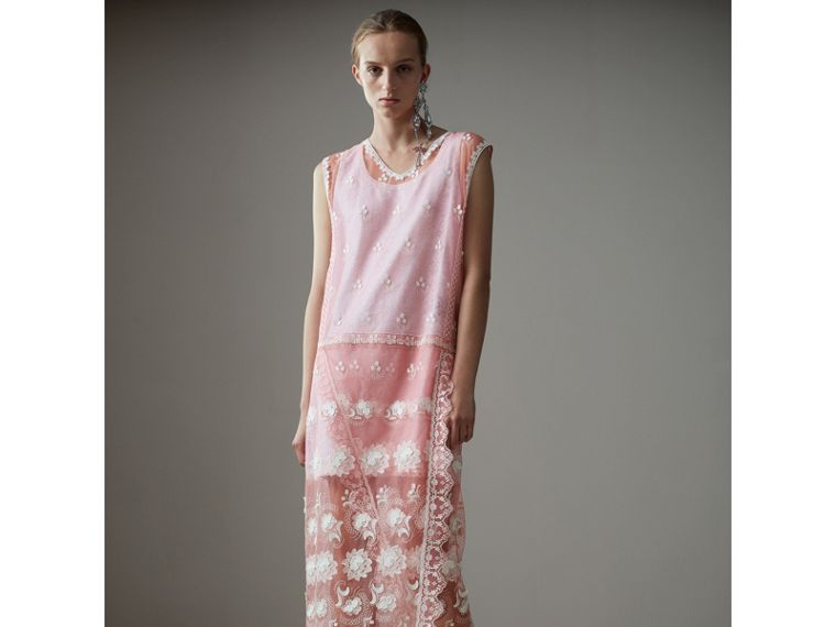 Sleeveless Chantilly Lace Embroidered Tulle Dress in Rose Pink/white - Women | Burberry - cell image 4