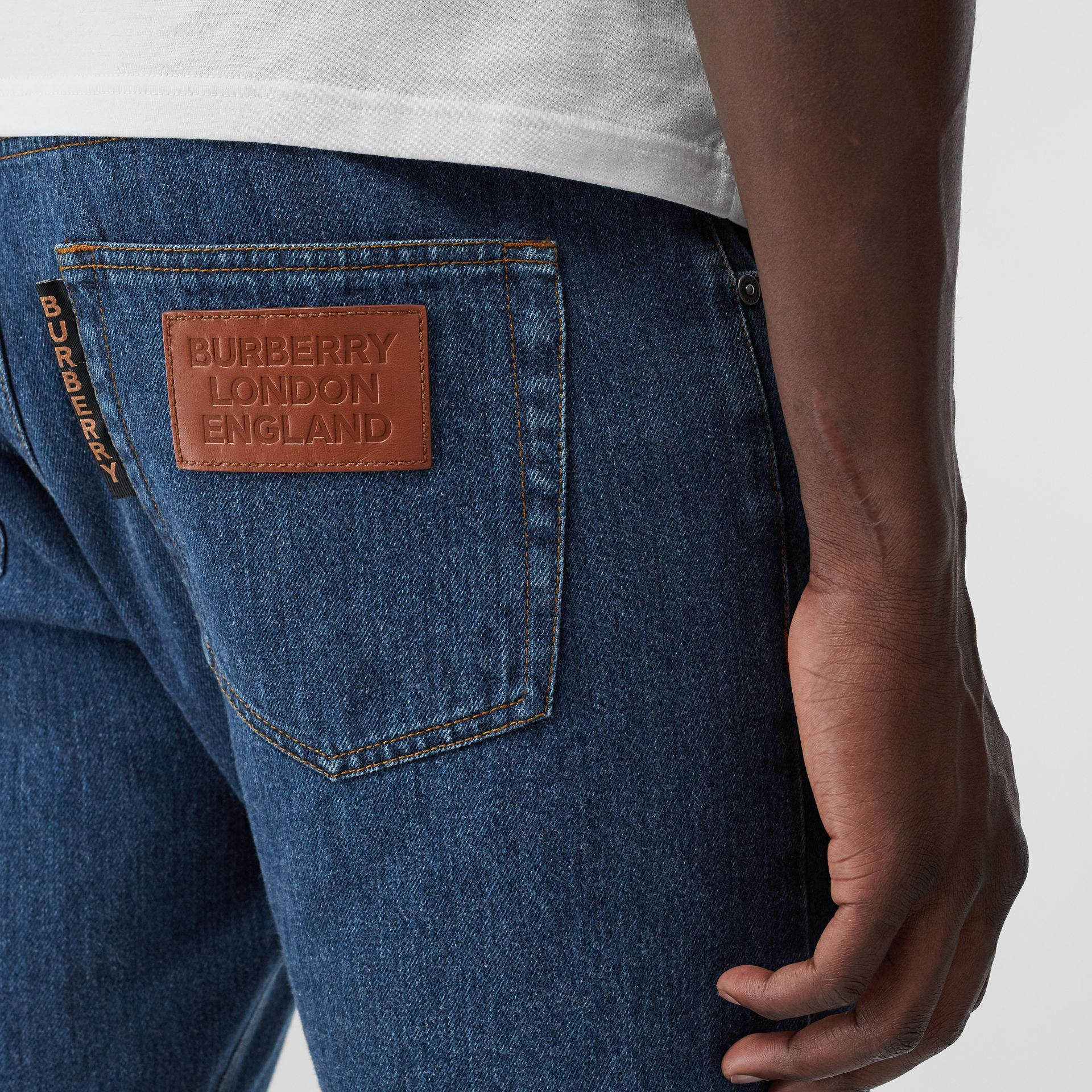 Straight Fit Horseferry Print Japanese Denim Jeans in Mid Indigo Blue - Men | Burberry Australia - gallery image 4