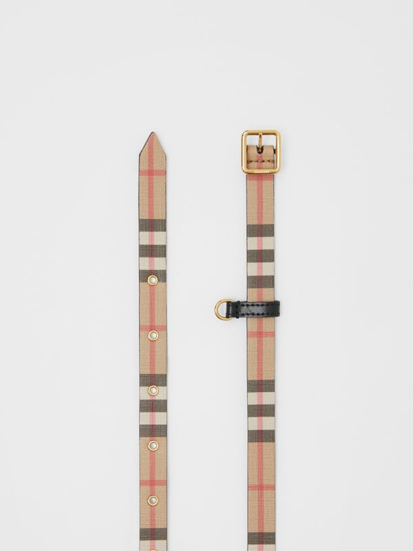 D-ring Detail Vintage Check E-canvas Belt in Black - Children | Burberry - cell image 3