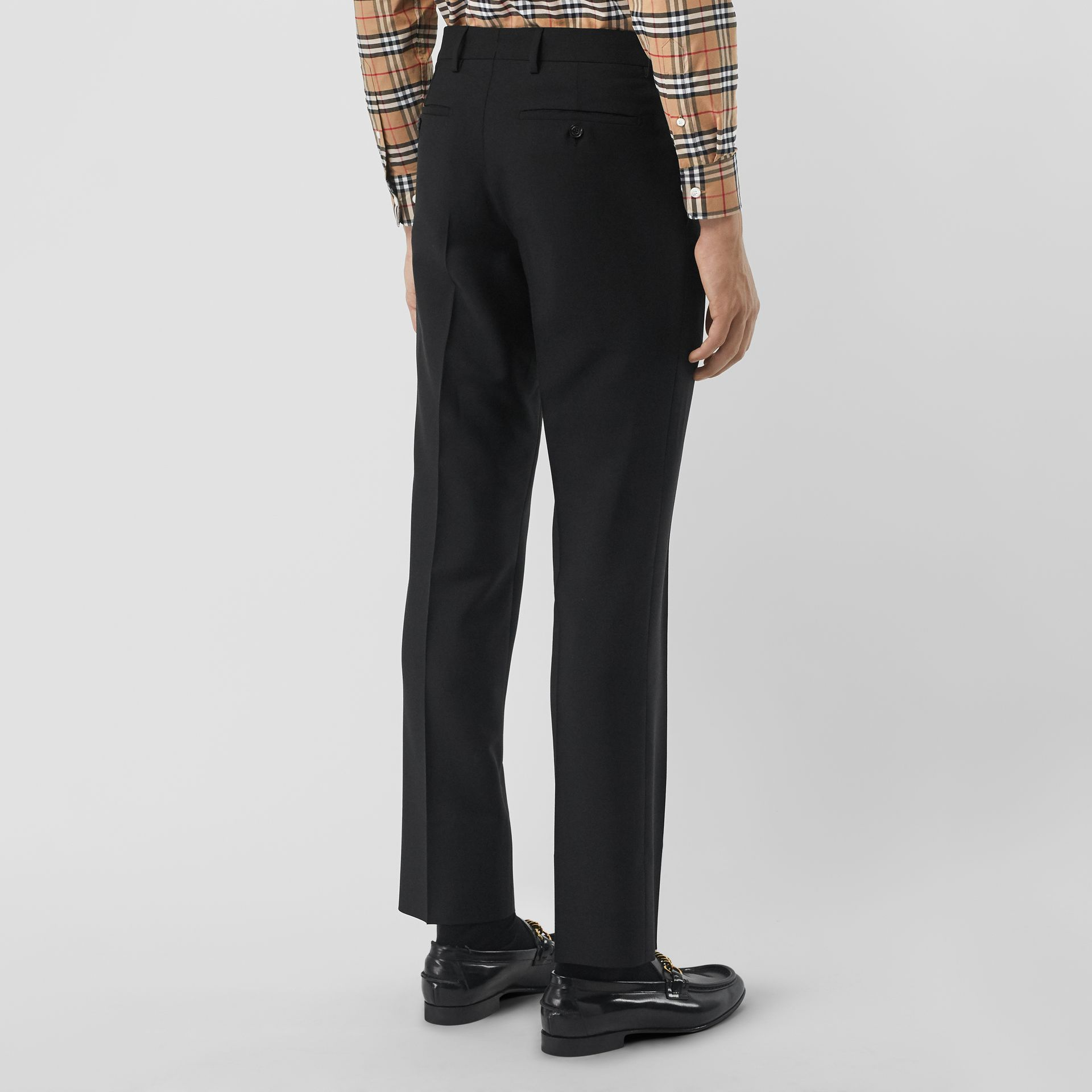 Classic Fit Wool Mohair Tailored Trousers in Black - Men | Burberry - gallery image 2