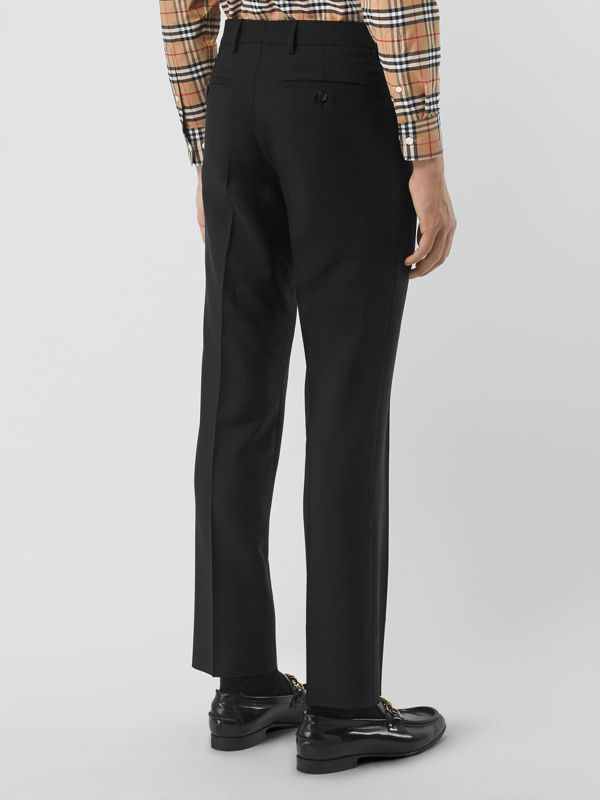 Classic Fit Wool Mohair Tailored Trousers in Black - Men | Burberry United Kingdom - cell image 2