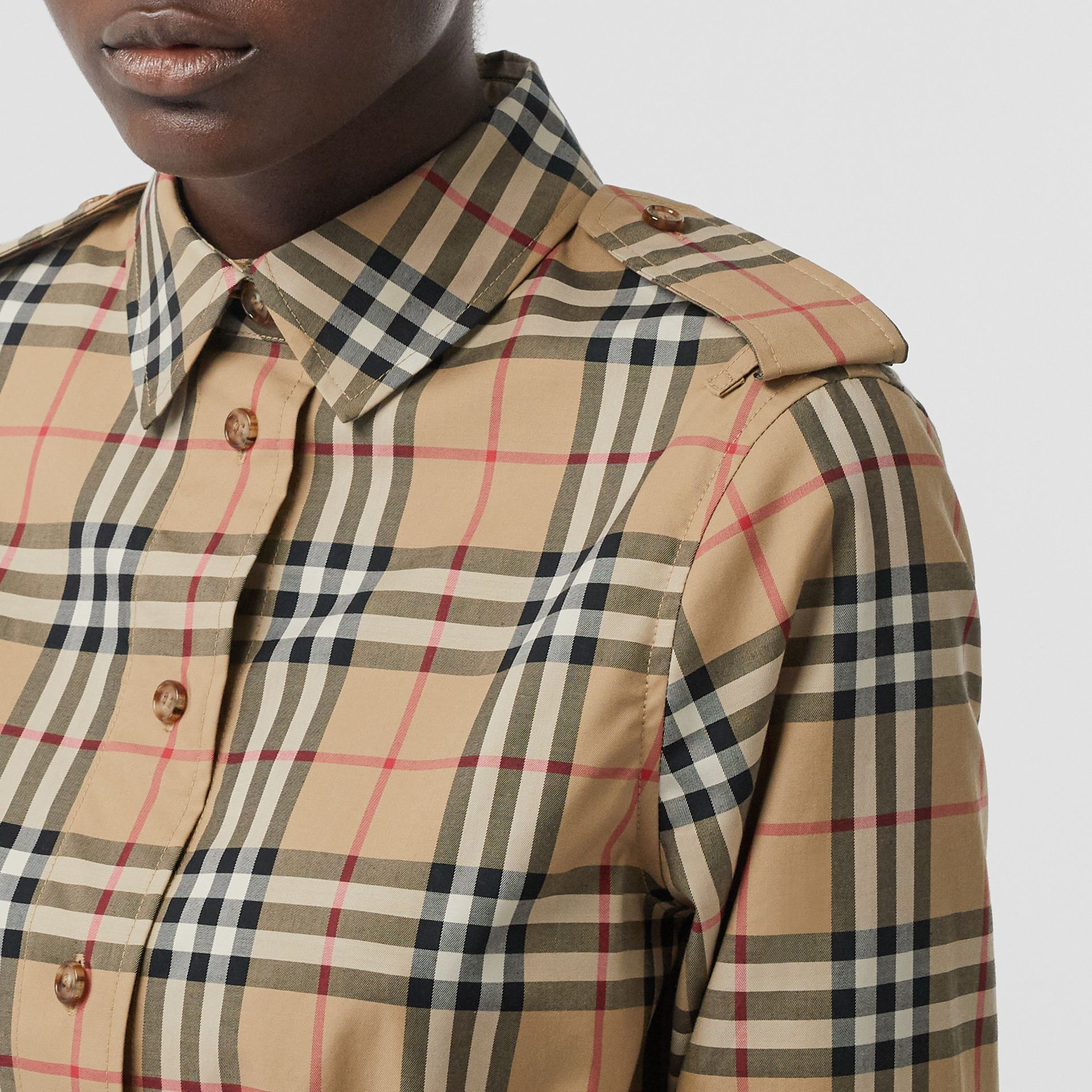 Vintage Check Stretch Cotton Drawcord Shirt Dress in Archive Beige - Women | Burberry - gallery image 1
