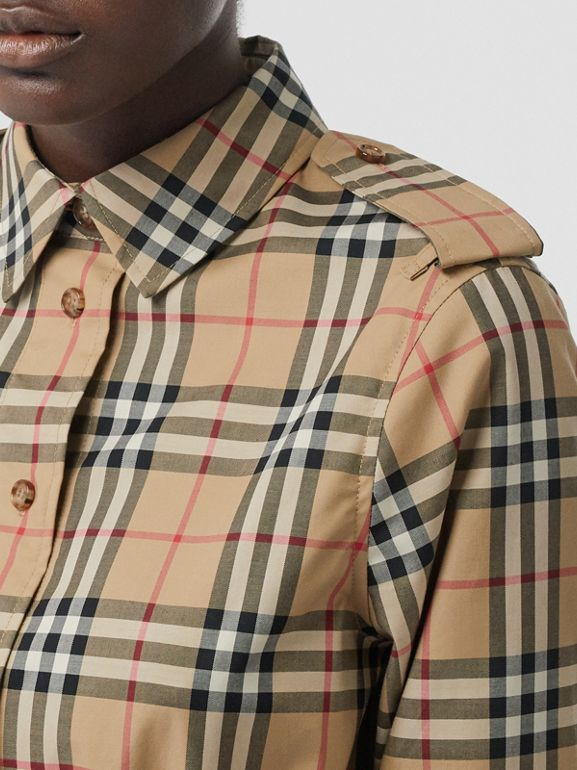 Vintage Check Stretch Cotton Drawcord Shirt Dress in Archive Beige - Women | Burberry - cell image 1