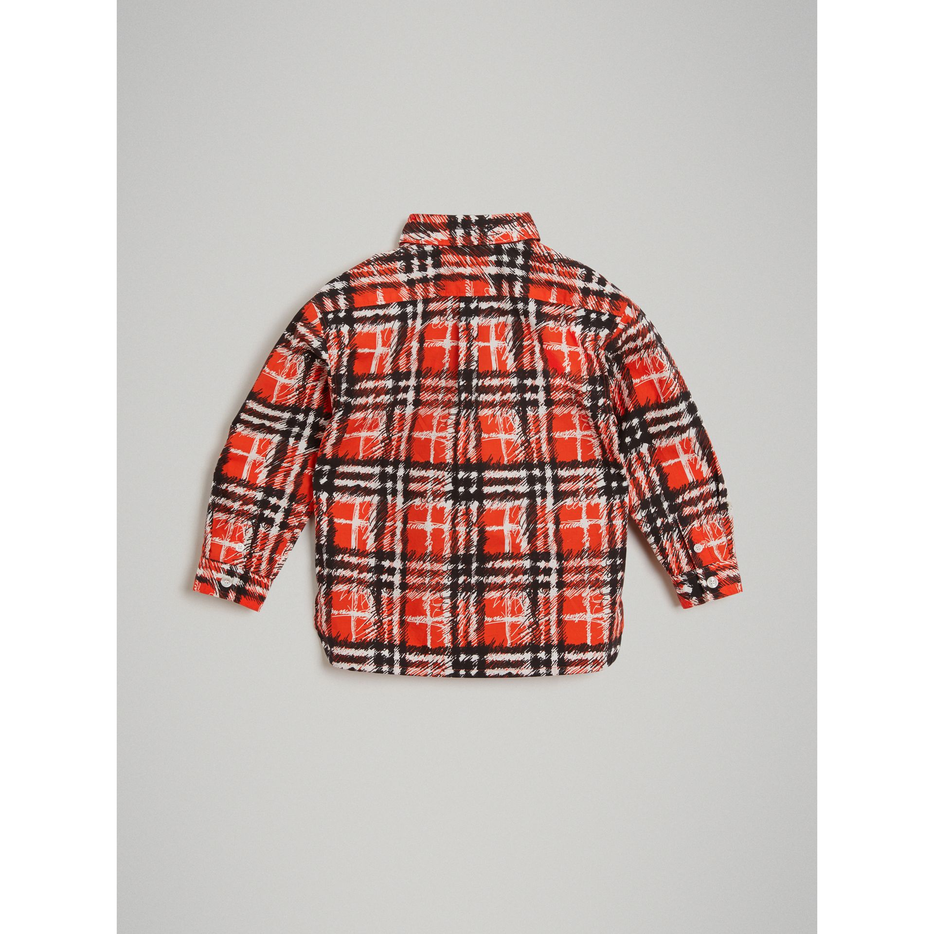 Scribble Check Button-down Collar Shirt in Bright Red | Burberry - gallery image 3