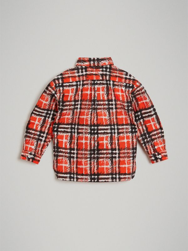 Scribble Check Button-down Collar Shirt in Bright Red | Burberry - cell image 3