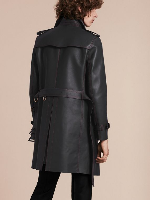 Dark navy Lambskin Trench Coat with Regimental Topstitching - cell image 2
