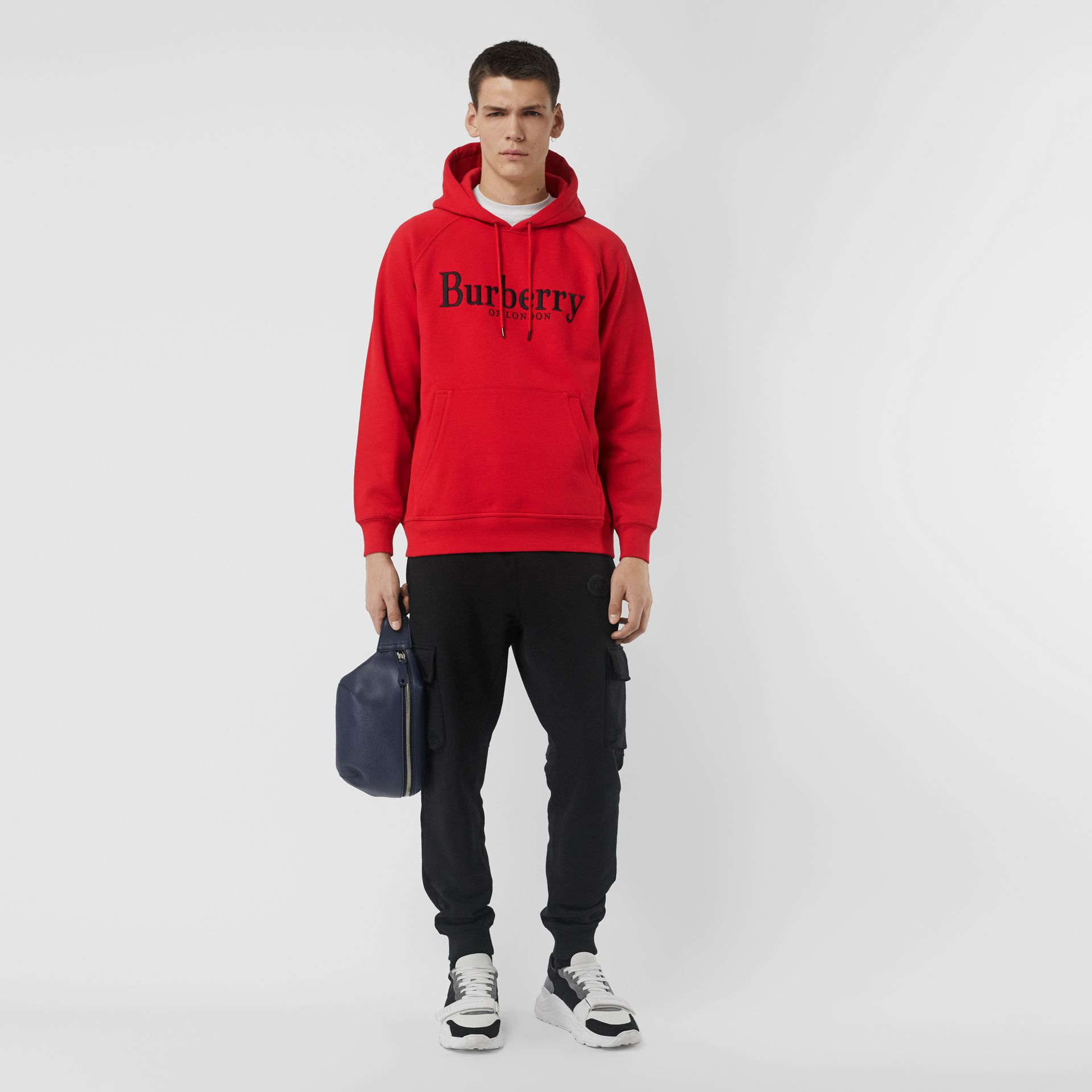 Embroidered Logo Jersey Hoodie in Bright Red - Men | Burberry United Kingdom - gallery image 0