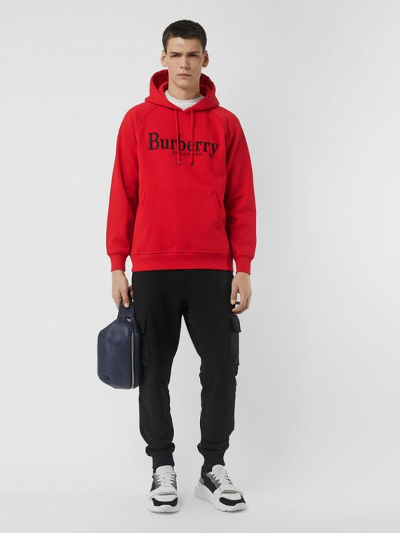 Embroidered Logo Jersey Hoodie in Bright Red