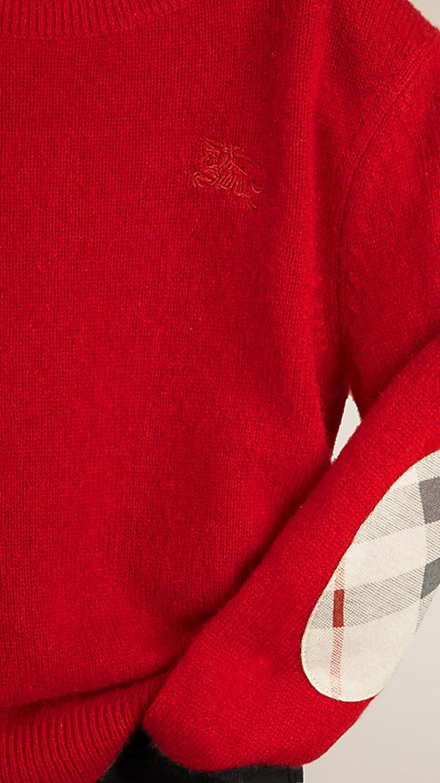 Military red Check Elbow Patch Cashmere Sweater - Image 3