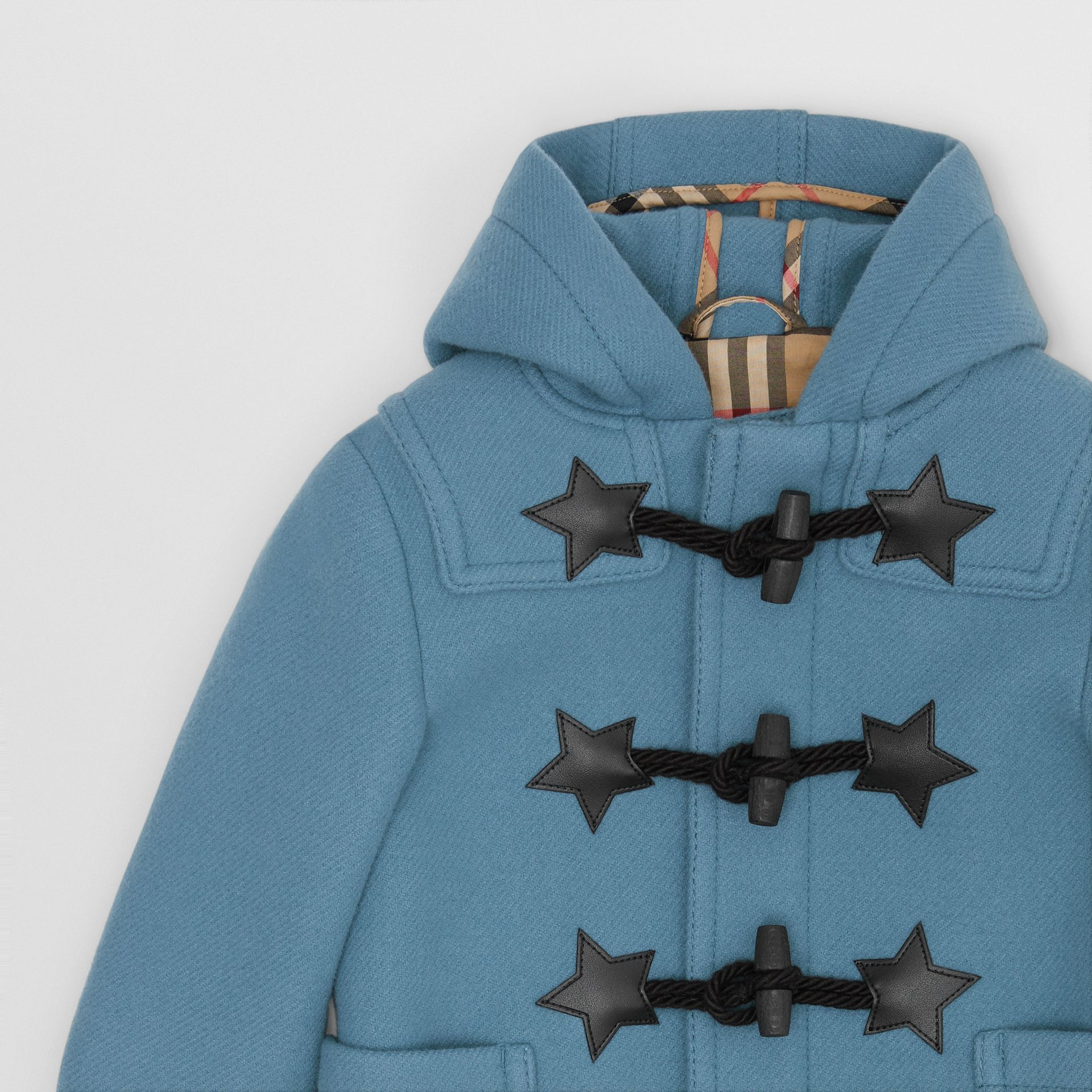 Faux Leather Star Detail Wool Blend Duffle Coat in Dusty Blue - Children | Burberry United States - gallery image 4