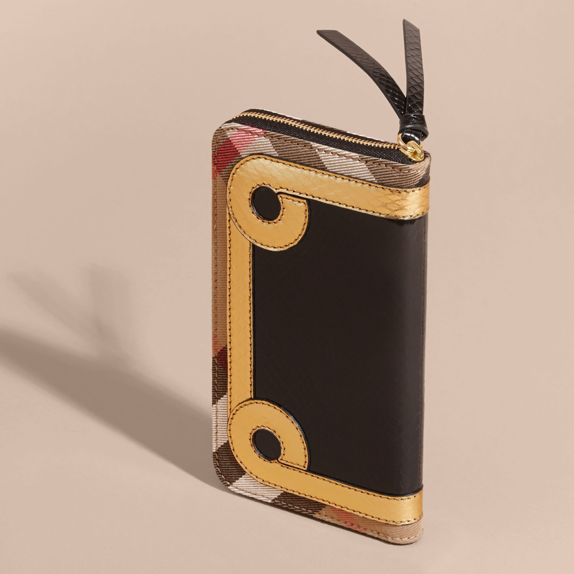 Snakeskin and House Check Ziparound Wallet in Black/gold - gallery image 4