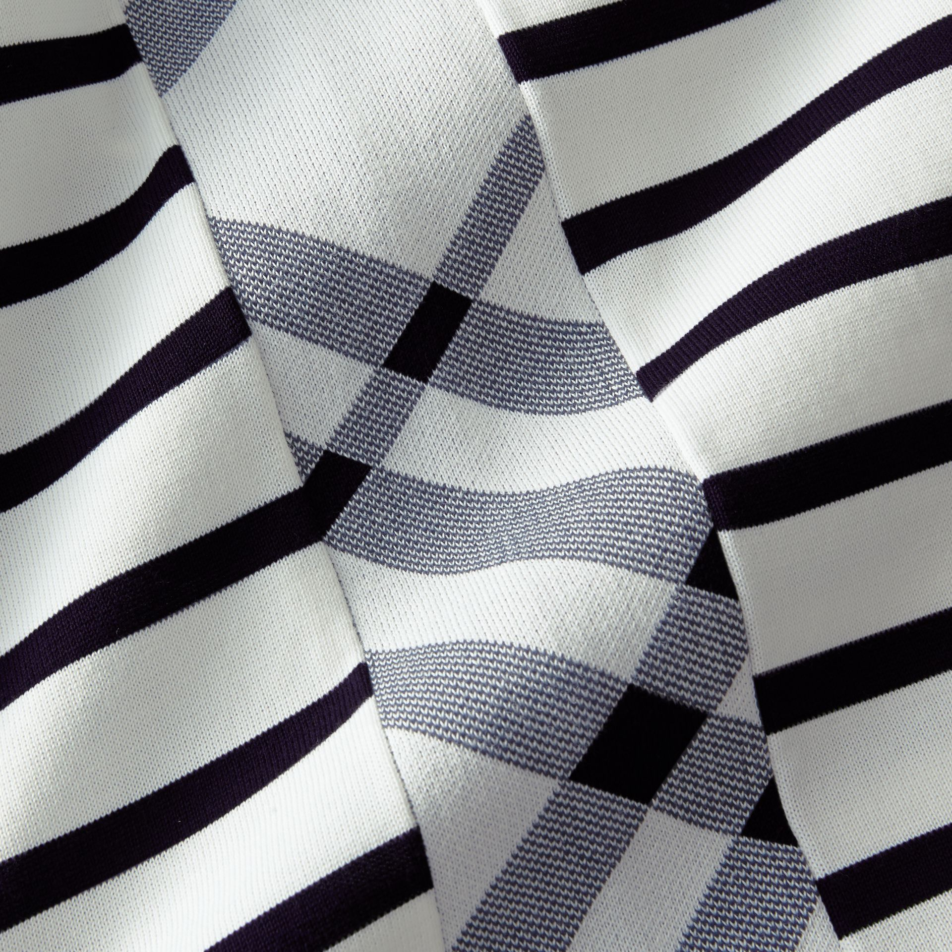 Breton Stripe Cotton Polo Shirt in White - Men | Burberry - gallery image 2