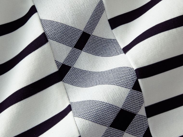 Breton Stripe Cotton Polo Shirt in White - Men | Burberry - cell image 1