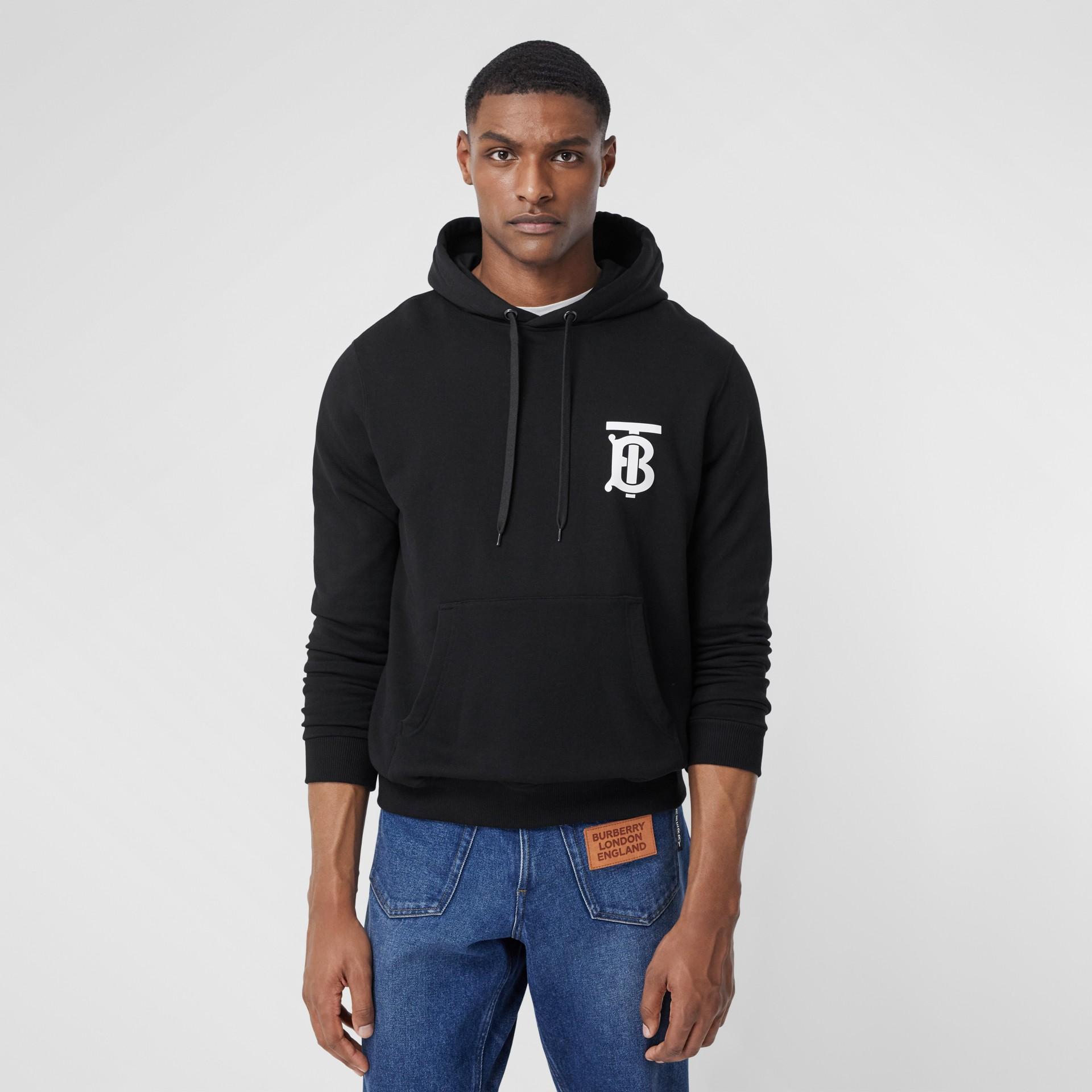 Monogram Motif Cotton Hoodie in Black - Men | Burberry - gallery image 4
