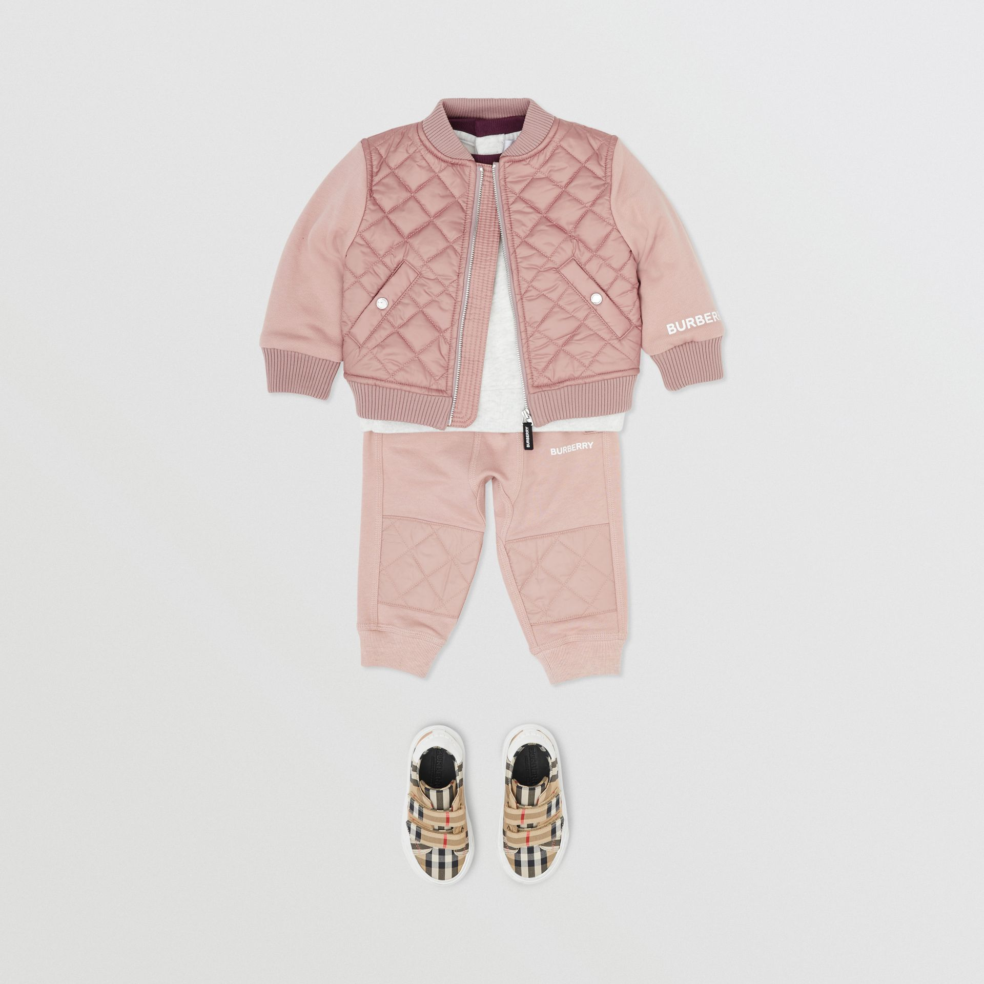 Contrast Sleeve Diamond Quilted Bomber Jacket in Lavender Pink - Children | Burberry - gallery image 2