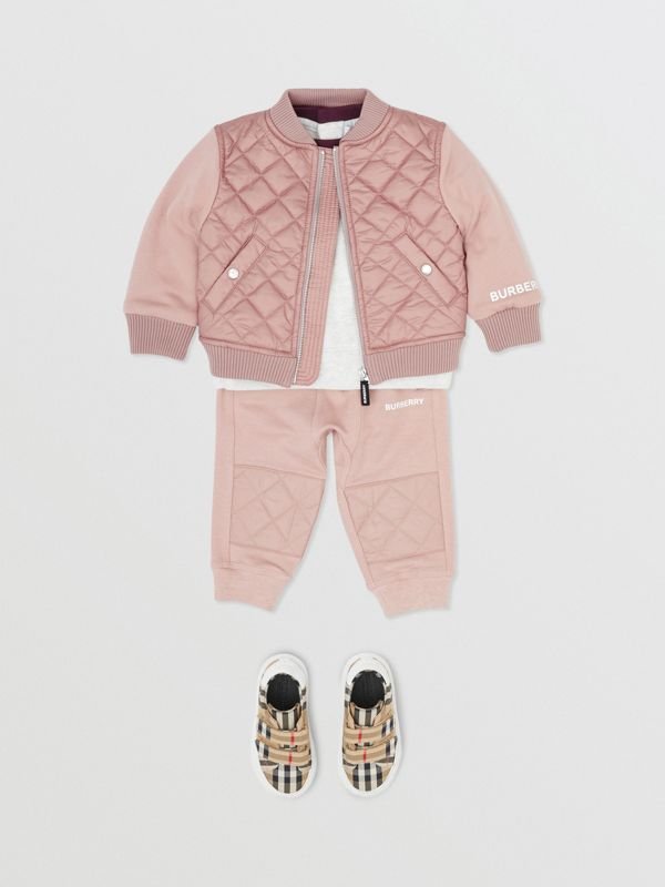 Contrast Sleeve Diamond Quilted Bomber Jacket in Lavender Pink - Children | Burberry - cell image 2