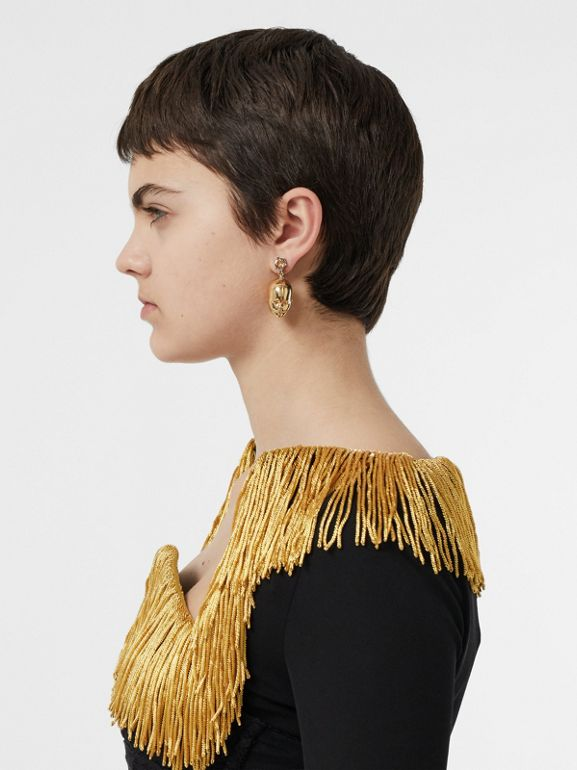 Crystal and Doll's Head Gold-plated Drop Earrings in Light Colorado/light - Women | Burberry - cell image 1