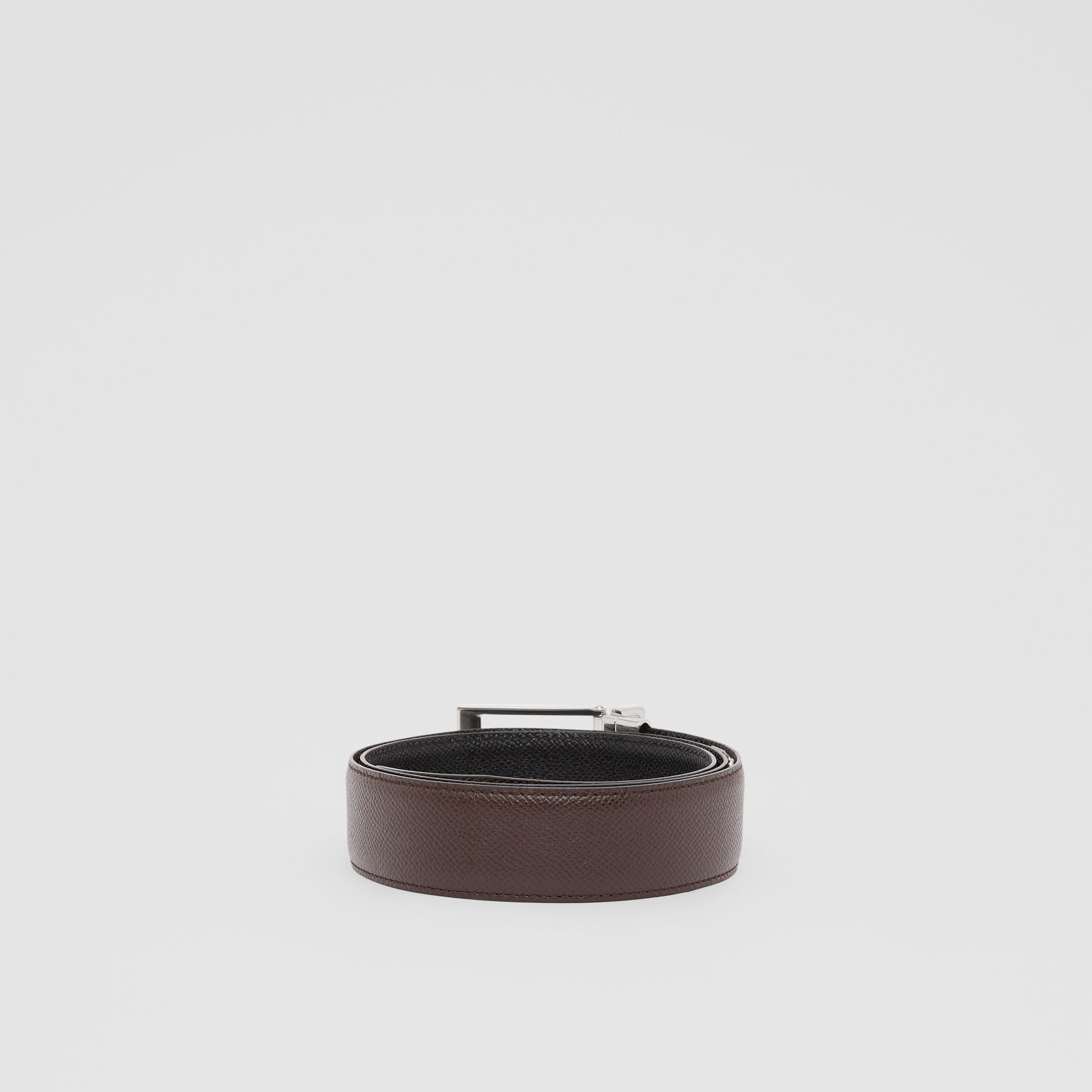 Reversible Grainy Leather Belt in Black/chocolate - Men | Burberry - 4