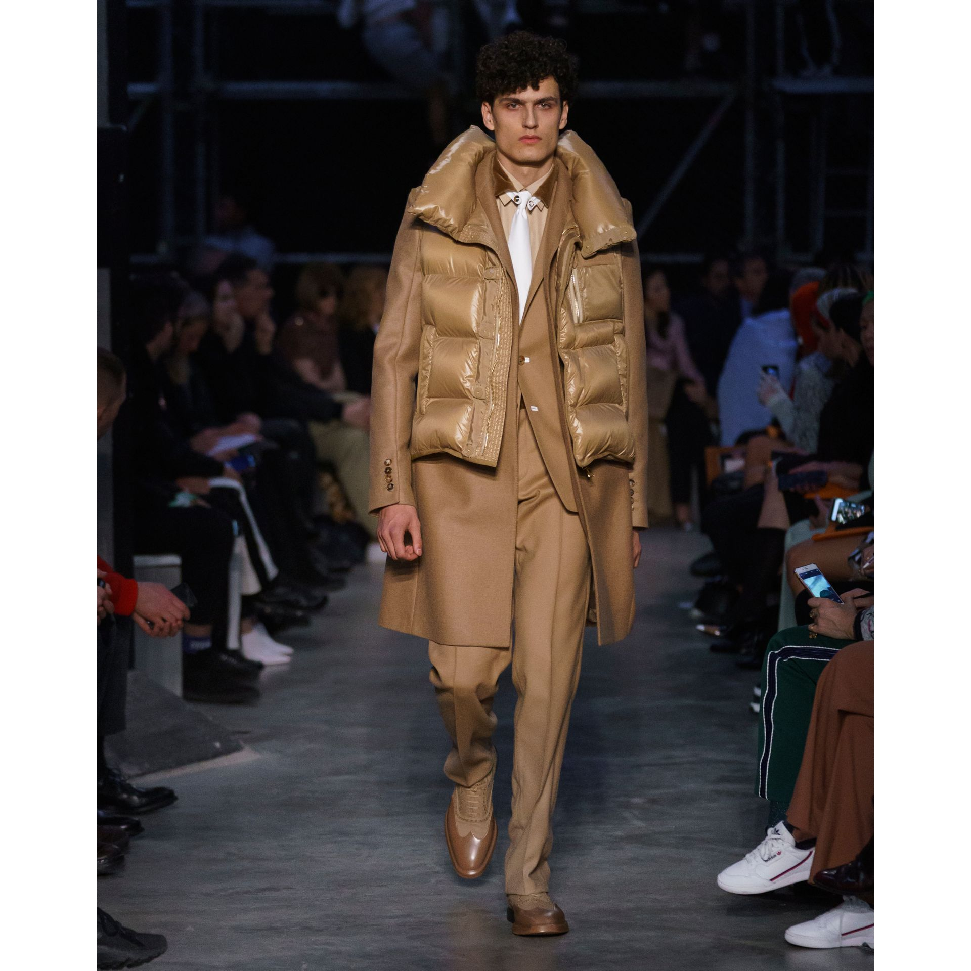 Down-filled Gilet Detail Camel Hair Tailored Coat - Men | Burberry United States - gallery image 6