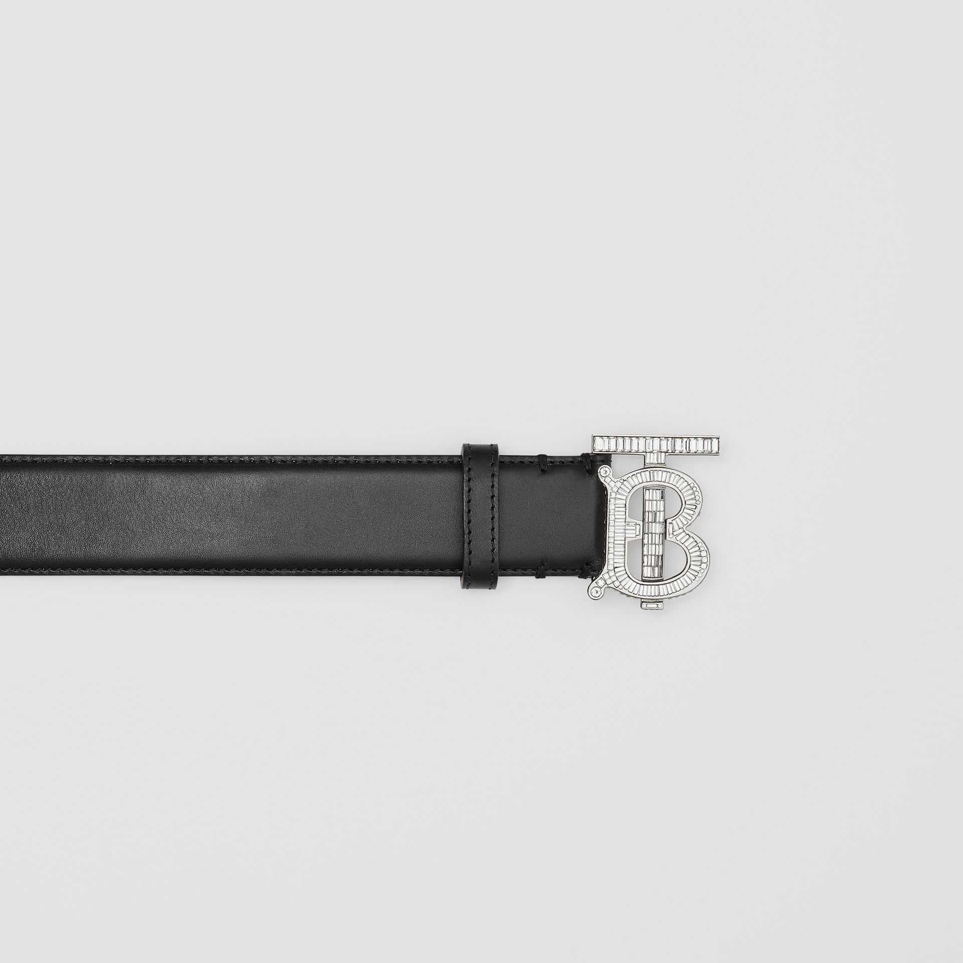 Crystal Monogram Motif Leather Belt in Black/palladium - Women | Burberry United States - gallery image 1