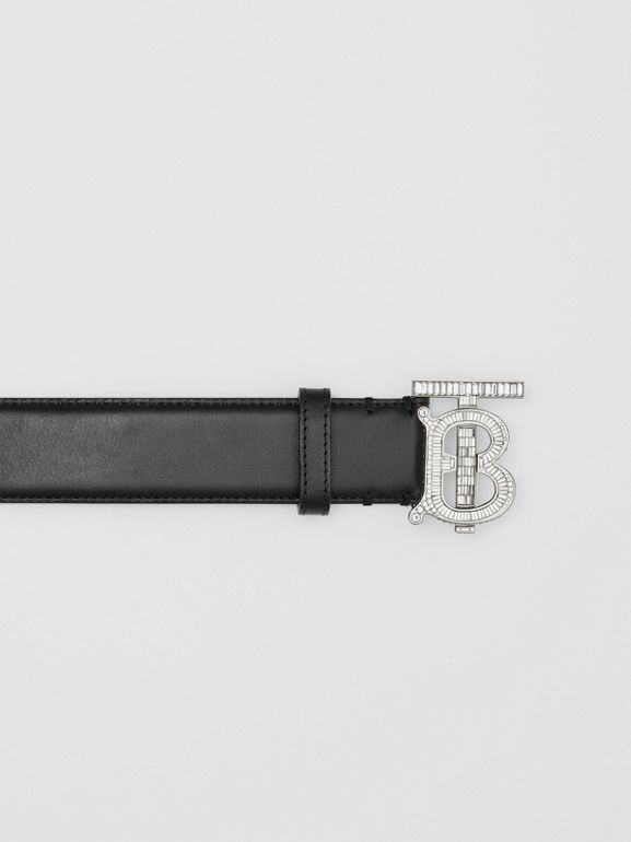 Crystal Monogram Motif Leather Belt in Black/palladium - Women | Burberry United States - cell image 1