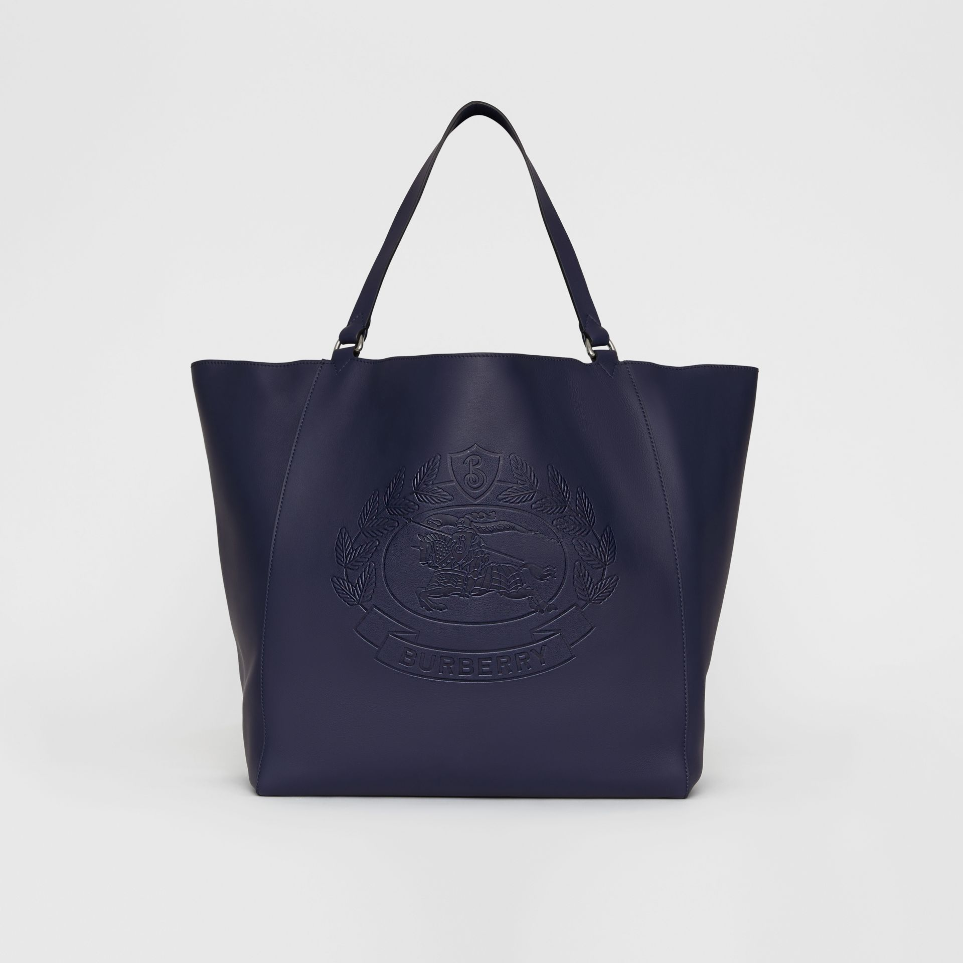 Large Embossed Crest Bonded Leather Tote in Regency Blue - Men | Burberry - gallery image 0