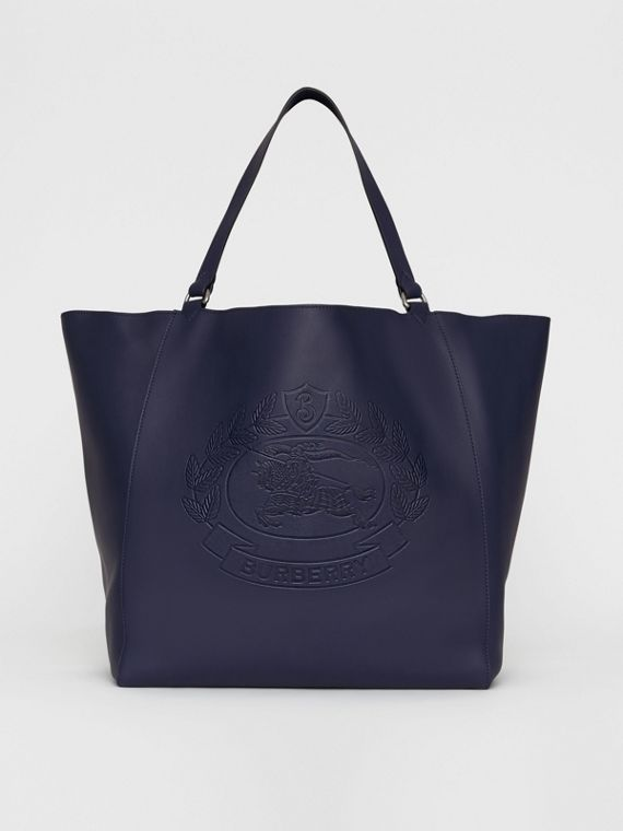 Large Embossed Crest Bonded Leather Tote in Regency Blue